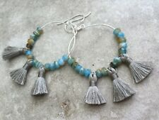 Tassel Hoop Earrings with Czech Glass * Boho Style * Handmade