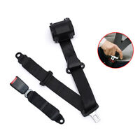 1 Set 3 Point Front Seat Belt Buckle Auto Retractable Safety Strap Universal