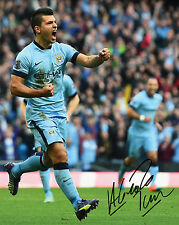 SERGIO AGUERO #1 - MANCHESTER CITY 10x8 PRE PRINTED LAB QUALITY PHOTO - Free Del