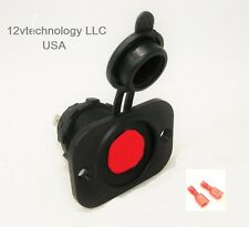 Accessory Lighter Socket 12V Marine w Red LED & Boot Illuminated Plug Outlet