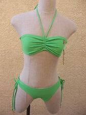 Juicy Couture Shamrock Green Bandeau Bikini - Halter Top - Drawcord Bottom - L