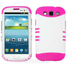 For Samsung Galaxy S 3 III S3 Hybrid Phone Case Pink Silicone & White Hard Cover
