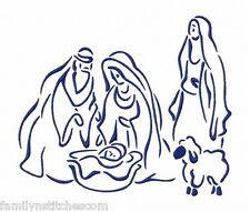 Outline Christmas Nativity Time 10 Machine Embroidery Designs on CD in 4 sizes
