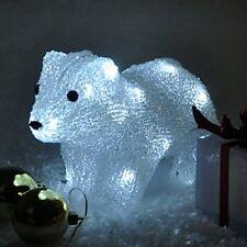Crystal Effect Polar Bear Christmas LED Light Up Decoration Battery Powered