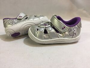 SURPRIZE By Stride Rite ALEXIS Baby Toddlers  Shoes, silver, Size 4