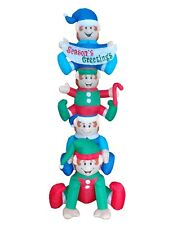 8 Foot Tall Christmas LED Inflatable Stacked Elves Banner Yard Party Decoration