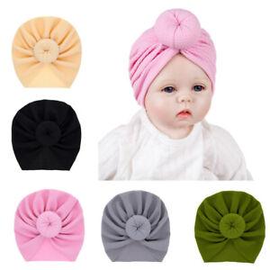 5pcs Baby Girls Newborn Headband Hat Infant Soft Cute Turban Knotted Head Wrap