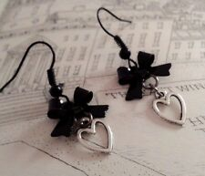 Gothic Lolita Earrings. Black metal Bow. Hollow Heart charm. Sweet. Elegant EGL.