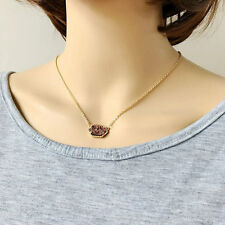 Fashion 10Colors Women's Gold Plated Brass Drusy Pendant Necklace Gift