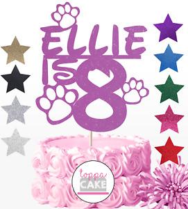 Customised Paw Cat Dog Cake Topper Personalised Custom Age Name Kitten Puppy