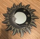 """VTG MOON & STARS MIRROR 16"""" Hand Carved & Painted NEW GRAY"""