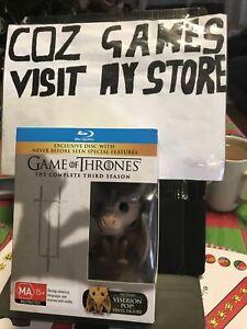 Game of Thrones Season 3 Blu-ray Set + RARE Viserion #22 Funko Pop Vinyl