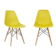 Set of 2 Eames Style DSW Molded Yellow Plastic Shell Chair with Wood Eiffel Legs