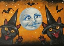 ACEO PRINT OF PAINTING RYTA HALLOWEEN VINTAGE STYLE BLACK CAT WITCH BAT MOON ART