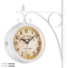 Double Face Horloge Murale Gare Montre Vintage Retro Style New York Acier Blanc