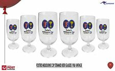FOSTERS Melbourne Cup 1986 Stemmed Beer Glasses x 6 -15x7cm 250ml RARE Mint con'