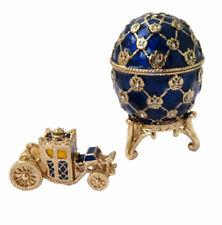 """Copie oeuf Fabergé - """" Le Couronnement """" Bleu et Or fabrication artisanale"""