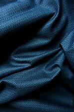 "Indigo Blue Black Fine Circles Vintage Japanese Kimono Pongee Silk Fabric 50"""