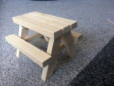 Handmade wooden picnic bench bird squirrel feeder table