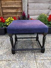 Vintage Fabric Padded Footstool Foot Rest - Home Decor - Lovely Purple! -