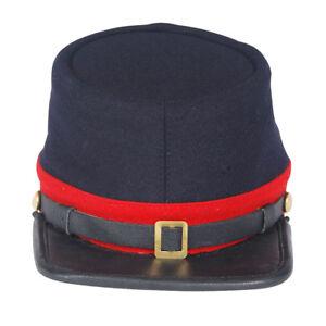 Civil War Union Artillery  Leather Peak Plain Kepi, Navy Blue with Red Band Hat