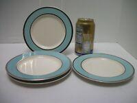 4 Vtg Taylor Smith Taylor Platinum Blue BREAD PLATES Classic Turquoise & Cream
