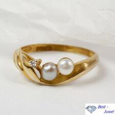 Ring in 333 Gold mit Süßwasserperlen und Zirkonia