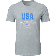 New NWT USA US Soccer Nike Dri-Fit Cotton Mens Gray Verbiage Size Large T-Shirt
