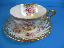 shafford cup and saucer hand decorated open lace saucer heavy gold WONDERFUL CON