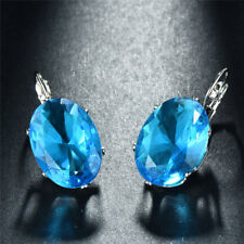 Womens 925 Silver Aqua Blue Sapphire Oval Cut Hook Drop Dangle Earrings Jewelry