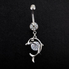 Navel Belly Bars Crystal Dangly Body Piercing Belly Button Ring Cute Dolphin