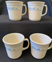 """Corning Corelle """"First Spring"""" Blue White Coffee Cups Mugs made in USA set of 4"""