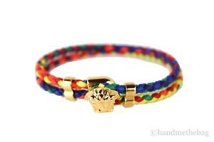 Versace Medusa Multicolor Rainbow Braided Smooth Leather Gold Medusa Bracelet