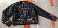Icelandic Design Black/Red/Wedgewood Blue 100% Wool Zip Cardigan or Jacket M *