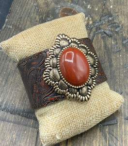 Barse Embossed Leather Cuff Bracelet- Deep Orange Jasper & Bronze-NWT