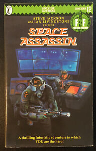 Space Assassin Fighting Fantasy #12 1985 1st/2nd Andrew Chapman Green Banner VG+