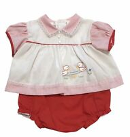 Vintage CRADLE TOGS 2 Piece Dress Bloomer Set Red Embroidery Size 6M