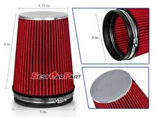 """6 Inches 152 mm Cold Air Intake Cone Truck Long Filter 6"""" NEW RED Fit Nissan"""