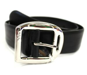 Ladies LAUREN RALPH LAUREN Black Genuine Leather Belt With Oversize Buckle M C17