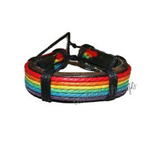 LGBT Gay Pride Rainbow Leather Bracelet Bracciale Wristlet lesbiche gay gioielli
