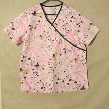 S4404 SB Scrubs Women's Medium Pink Floral Scrubs Top