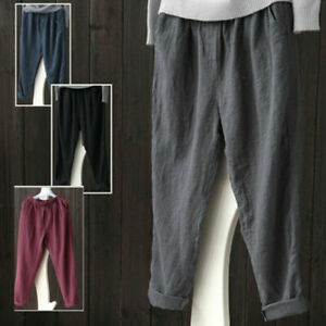 Womens Ladies Elastic High Waist Baggy Casual Cotton Linen Harem Pants Trousers