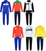 BOYS FOOTBALL TRACKSUIT INTERNATIONAL TRAINING ZIP TOP & BOTTOMS BNWT