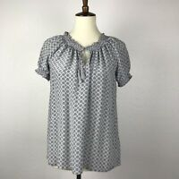 Joie Women Sz S Top Shirt Blouse Silk Print Drawstring Collar Tassels Smocked