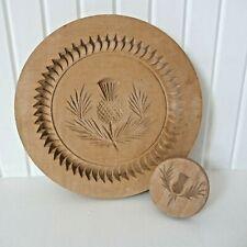 More details for vintage 60s scottish wooden shortbread thistle mould &stamp design centre label