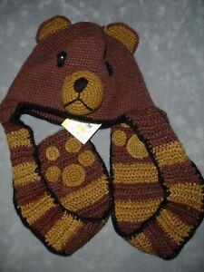 New San Diego Hat Co Knit Bear Hat Kids 3-5 Animal Winter Beanie