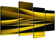 Abstract Canvas Art in Yellow and Black for your Living Room - 4 Part