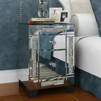 Crystal Glass Mirrored Bedside Table Bedroom Nightstand Chest of Drawers Cabinet