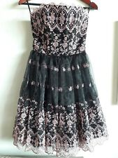 betsey johnson dress size 4 black and pink flower lace