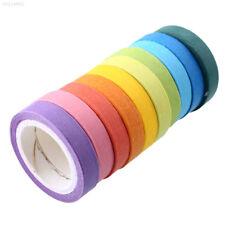 D349 10x Rainbow Washi Sticky Paper Masking Adhesive Decorative Tape DIY Gift